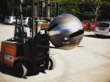 Mid fabrication of Sphere sculpture / water feature